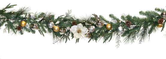 Aspen Silver Battery Operated LED Christmas Garland, Warm White Lights