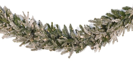 Flocked Fraser Fir Prelit Christmas Garland, Clear Lights