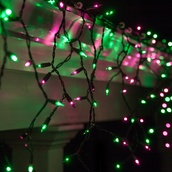 150 Mini Purple, Green Icicle Light Set, Black Wire