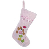 "19"" Pink Teddy Bear Stocking for Baby"