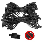 "100' C7 Commercial Light Stringer, SPT2 Black Wire, 12"" Spacing"