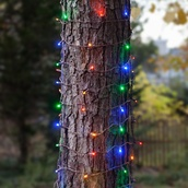 2' x 6' LED Trunk Wrap Lights - 100 Multi: Red, Blue, Amber, Green, Gold Lamps - Brown Wire