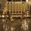 "48"" Grapevine Reindeer with Head Down, 200 Warm White LED Lights"