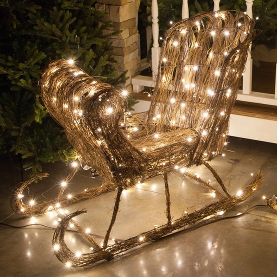 "48"" Grapevine Sleigh, 250 Cool White LED Lights"