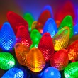 "Commercial 25 C7 Multi Color LED Christmas Lights, 6"" Spacing"