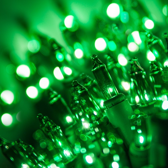 "140 Green Chasing Mini Lights, 4"" Spacing, Green Wire"