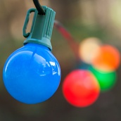 25 G40 Opaque Multicolor Patio String Lights on Green Wire
