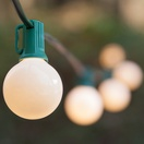 25 G40 White Patio String Lights on Green Wire