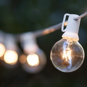 25 G40 Clear Patio String Lights on White Wire