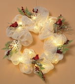 Battery Operated Prelit Christmas Wreath, Clear Lights
