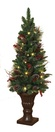 4' Frosted Battery Operated Prelit Potted Tree with LED Clear Lights