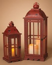 Antique Red Metal and Wood Lanterns, Set of 2