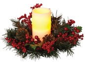 "6"" White Battery Operated Candle in a Holly Wreath"