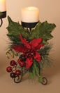 Metal Candle Holder Centerpiece w/ Poinsettia and Berries