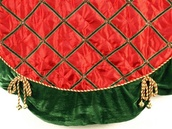 """56"""" Red Satin Tree Skirt with Bells"""