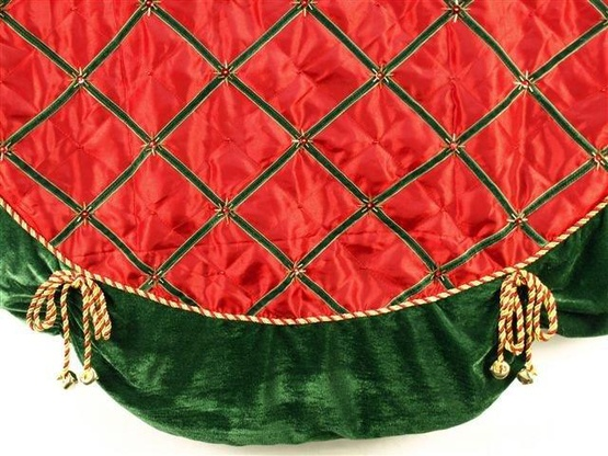 "56"" Red Satin Tree Skirt with Bells"