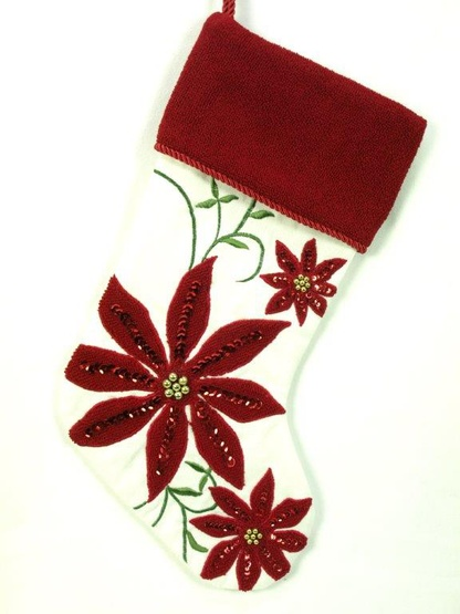 "19"" Cream and Burgundy Stocking with Poinsettias"