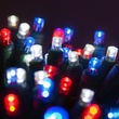 "70 5mm Blue, Red, Cool White LED Christmas Lights, 4"" Spacing"
