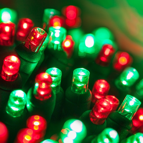 "70 5mm Red, Green LED Christmas Lights, 4"" Spacing"