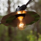 48' Patio String with 15 S14 Clear Outdoor Patio Lights, Copper Shades