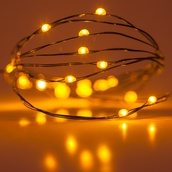 18 Amber Battery Operated LED Fairy Lights, Green Wire