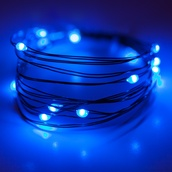 18 Blue Battery Operated LED Fairy Lights, Green Wire