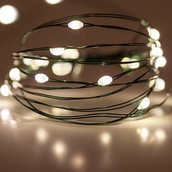 18 Warm White Battery Operated LED Fairy Lights, Green Wire