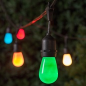54' Commercial Patio String with 24 Suspended S14 Multicolor Party Lights