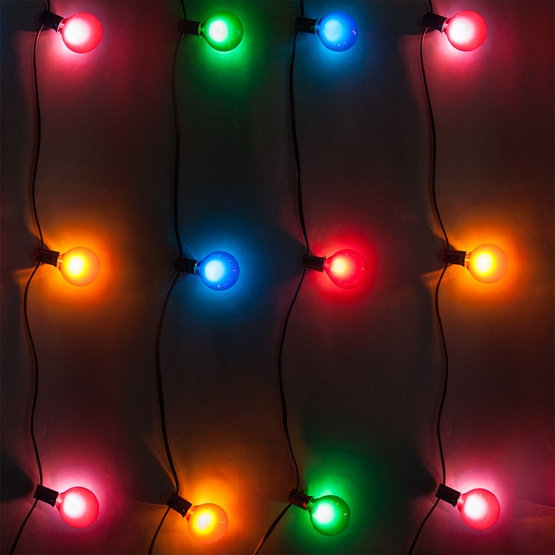 Outdoor String Lights Multicolor : Patio Lights - Multicolor Satin Party Lights, 33 G50 E12 Bulbs Black Wire