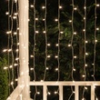 150-Lite Curtain Mini Light Set, Clear Lamps, White Wire