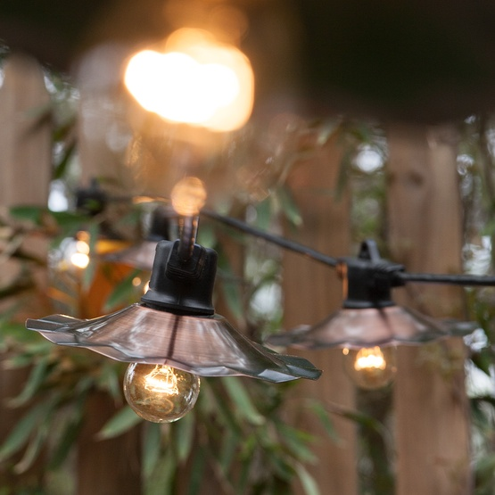 Patio Lights - Commercial Clear Patio String Lights, 15 A15 E26 Bulbs Black Wire