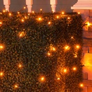 4' x 6' LED Net Lights - 100 Amber Lamps - Green Wire