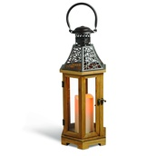 "19"" Wood Candle Lantern with Rustic Roof"
