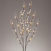 Clear Acrylic Mirror Spray Branches w/ Warm White LED Lights, 2pc