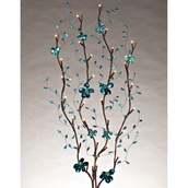 "39"" Turquoise Mirror Branches w/ Warm White LED Lights, 2 pc"