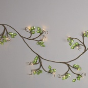 6' Green Acrylic Leaf Garland with LED Warm White Lights