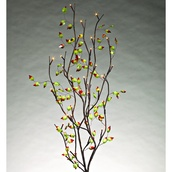 Red Tipped Acrylic Leaf Branches w/ Warm White LED Lights, 2 pc
