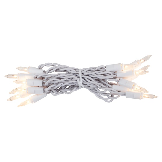 "20 Clear Craft Mini Lights, 4"" Spacing, White Wire"