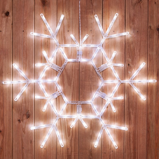 "36"" LED Folding Snowflake Decoration, 105 Cool White Lights"