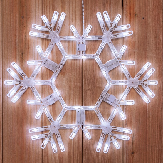 "20"" LED Folding Snowflake Decoration, 70 Cool White Lights"