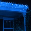 100 Blue Icicle Lights, White Wire, Short Drops