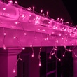 100 Purple Icicle Lights, White Wire, Short Drops