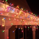 150 Multi (Red, Green, Pink, Blue, Yellow) Icicle Lights - White Wire