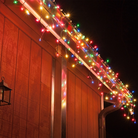 Christmas Icicle Light 100 Multi Red Green Pink Blue