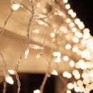 100 Clear Icicle Lights, White Wire, Short Drops