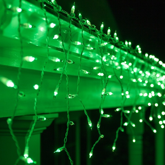 150 Green Icicle Lights - White Wire