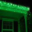 100 Green Icicle Lights, White Wire, Short Drops
