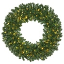 Deluxe Pine Prelit Commercial LED Holiday Christmas Wreath, Warm White Lights