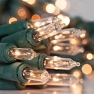 10 Clear Battery Operated Mini Christmas Lights, Green Wire