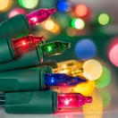 10 Multicolor Battery Powered Mini Christmas Lights, Green Wire